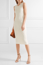 Soutache stretch-knit midi dress