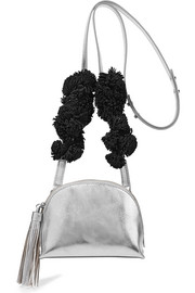 Suede-trimmed metallic textured-leather shoulder bag