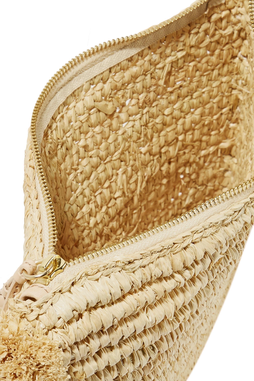 Loeffler Randall Pompom-embellished leather-trimmed woven raffia pouch