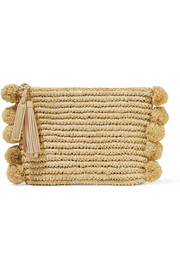 Pompom-embellished leather-trimmed woven raffia pouch