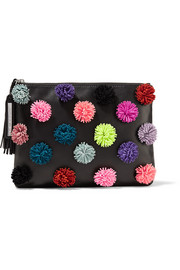 Pompom-embellished leather pouch
