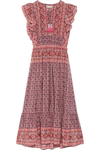 SEA - Selene Ruffled Printed Silk Midi Dress - Red