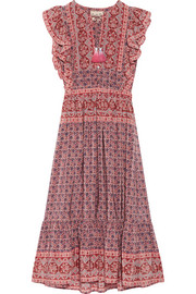 Selene ruffled printed silk midi dress