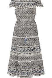 Margherita crochet-trimmed printed silk midi dress