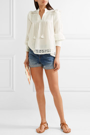 SEA Lace-trimmed crinkled-gauze blouse