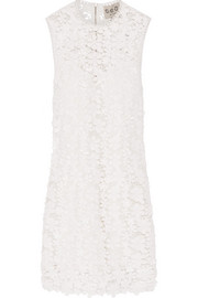 Appliquéd guipure cotton-lace mini dress