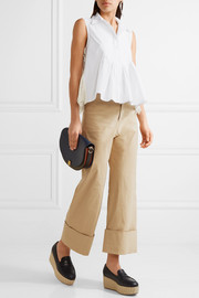 Lace-paneled pintucked cotton-poplin top