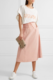 Lace-up stretch-canvas midi skirt