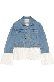 Broderie anglaise cotton-paneled denim jacket