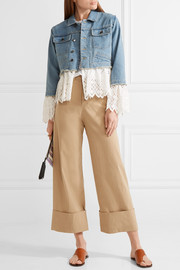 SEA Broderie anglaise cotton-paneled denim jacket