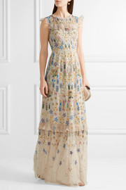 Needle & Thread Flowerbed ruffle-trimmed embroidered tulle gown