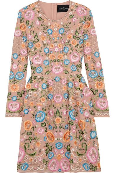 Needle & Thread - Lace Foliage Prom Embellished Crepe Mini Dress - Pastel pink