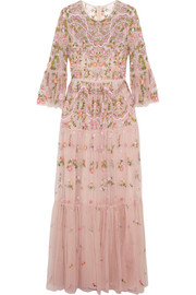 Dragonfly embellished embroidered tulle maxi dress