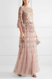 Needle & Thread Dragonfly embellished embroidered tulle maxi dress