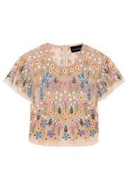 Needle & Thread Flowerbed embellished tulle top