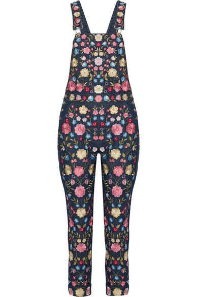 Needle & Thread - Flower Foliage Embroidered Denim Overalls - Dark denim