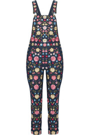 Flower Foliage embroidered denim overalls