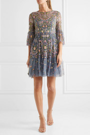 Needle & Thread Dragonfly Garden embellished embroidered tulle mini dress