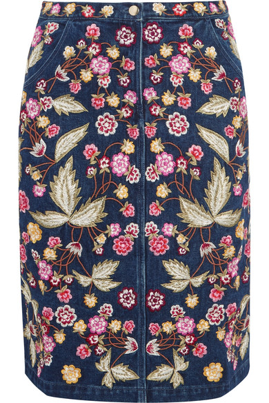 Needle & Thread - Wild Flower Embroidered Denim Skirt - Dark denim