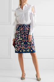 Wild Flower embroidered denim skirt