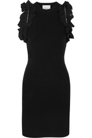 Zip-detailed ruffled stretch-cotton mini dress