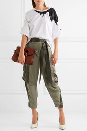 3.1 Phillip Lim Cropped silk satin-paneled twill pants