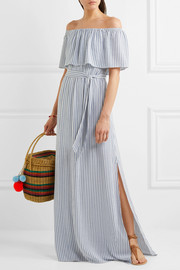 Grazi off-the-shoulder striped poplin maxi dress