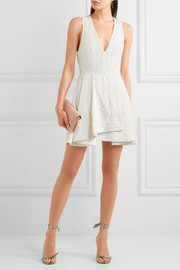 Alice + Olivia Tanner beaded embroidered cotton mini dress
