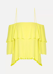 Meagan off-the-shoulder embellished crepon top