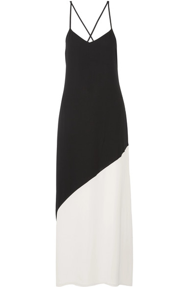 Maggie two-tone crepe maxi dress
