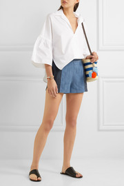 Alice + Olivia Madison two-tone chambray shorts