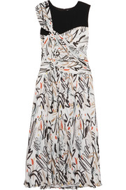 Draped printed plissé-crepe dress