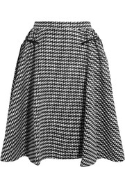 Pleated cotton-blend jacquard skirt