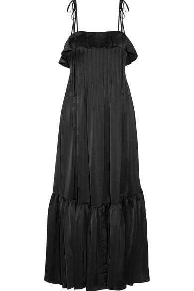 Co - Ruffle-trimmed Pleated Satin Maxi Dress - Black