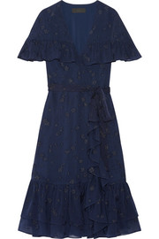 Ruffled wrap-effect fil coupé silk-chiffon dress