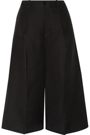 Cropped silk-faille wide-leg pants