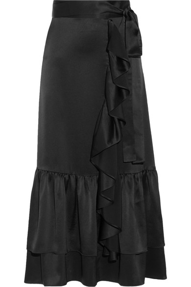 Co - Ruffle-trimmed Tiered Satin Midi Skirt - Black