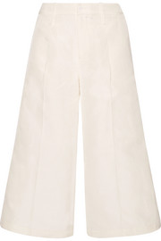 Cropped silk, linen and cotton-blend faille wide-leg pants