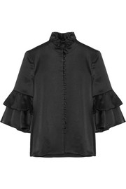 Ruffle-trimmed satin blouse