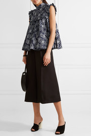Ruffled embroidered cotton-voile top
