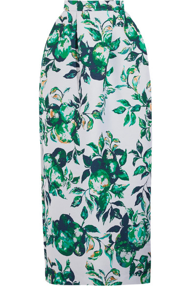Merchant Archive - Metallic Jacquard Maxi Skirt - Green