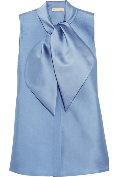 Merchant Archive - Pussy-bow Satin-twill Blouse - Blue