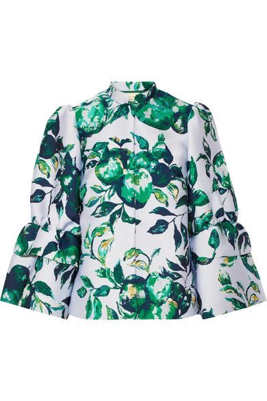 Merchant Archive - Ruffled Jacquard Jacket - Green