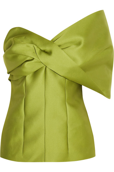 Merchant Archive - One-shoulder Duchesse-satin Top - Leaf green