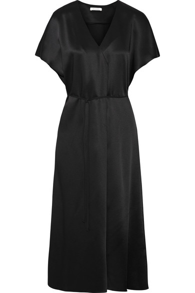 Protagonist - Wrap-effect Satin Midi Dress - Black