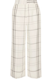 Checked twill wide-leg pants