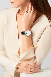 Portofino Automatic Moon Phase 37 alligator, stainless steel, mother-of-pearl and diamond watch