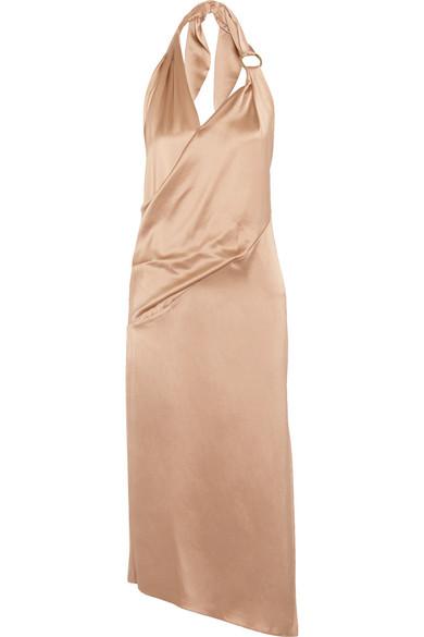 Haney - Ali Draped Wrap-effect Silk-satin Midi Dress - Sand