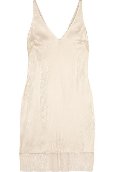Haney - Laura Mesh And Silk-satin Mini Dress - Sand