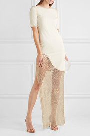 Amal jersey and sequined mesh maxi dress